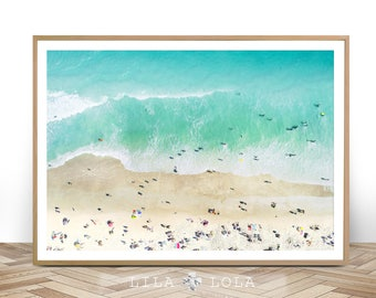 Beach Photography, Wall Art Print, Digital Download, Ocean Water Photo, Ariel People, Printable Large Poster, Coastal Decor, Drone Beach