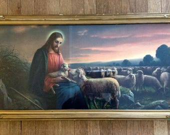 Framed Religious Vintage Art Print The Good Shepherd Christian Catholic Altar Shrine Reflective