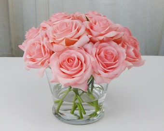 12, pink, rose/roses, glass, vase, faux, water, acrylic/illusion, silk, Real Touch flowers, floral arrangement, centerpiece, decor, gift