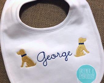 Baby Personalized Bib / Personalized Doggie Bib / Baby Dog Bib / Yellow Lab Bib / Baby Puppy Bib / Boy Personalized bib / Girl Bib