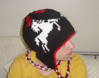 Knit Horse Hat Adult Man Hats with Ear Flaps Winter Black Hat White Horse Lovey Horse Lover Gift For Men - hand knit hat