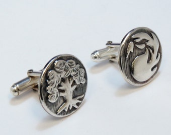 Magic The Gathering Inspired Cufflinks with Green and Red Mana symbols