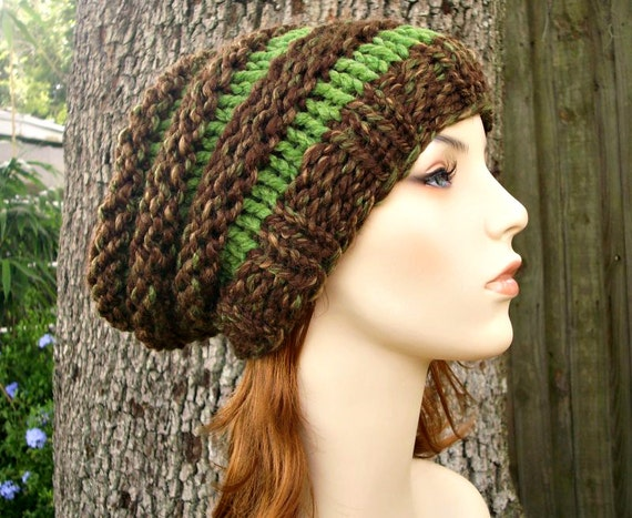Brown Slouchy Beanie Womens Hat Mens Hat - Beehive Beanie Mesquite Brown and Grass Green Knit Hat - Womens Accessories Winter Hat