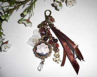 Jewelry bag/key three dogs with brown glass, Crystal beads and ribbons