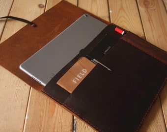 "Personalized New iPad Case Leather padfolio, Apple Pencil Case, 10.5"" iPad Pro leather portfolio, Custom / 9.7"" 10.5"" 12.9"""