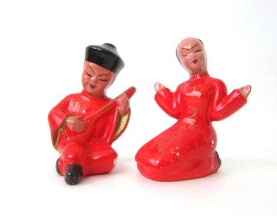 Small Japanese Figurine Statues Red vintage Shelf Sitters Mid Century Asian Home Decor Figurines Made in Japan Stamped 10