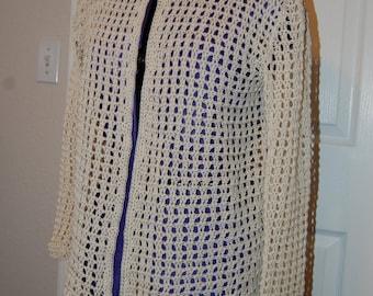 Crochet Cardigan Ecru Cotton Size Medium/Large with dual crochet button