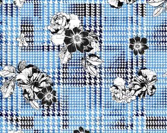 Seamless pattern 32cm Floral Flower ornamental Petit of poule black and white print Digital rotating textile Rapport Fashion Art printable