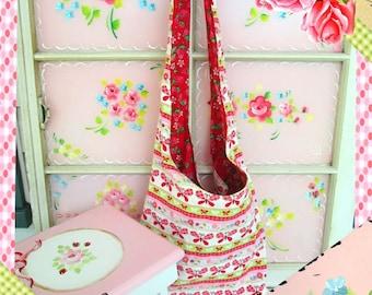 Upcycled Shoulder Bag, Unique Strawberries and Butterflies, Refurbished Vintage Purse, Vintage Material, Reversible Bag , Prairie