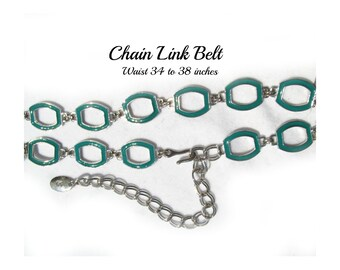 silver chain belt - teal  belt - Fashion belt - silver belt - M /L belt     # B1