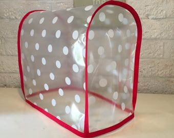 Polka Clear Red Trim PVC Food Mixer Cover For Kitchenaid Mini Mixer