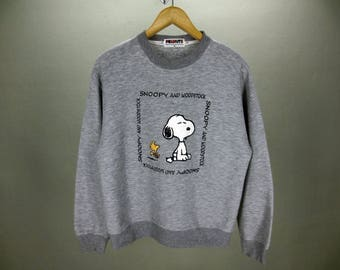 Snoopy and Woodstock Sweatshirt Two Gray Tone Peanuts Crewneck Pullover Men's Size M