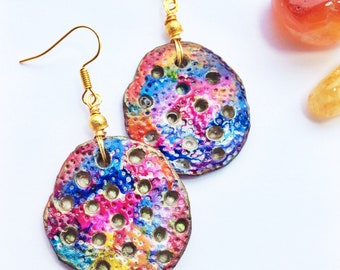 Unusual Colourful Earrings - Hand painted Artisan Clay Pendants - Gold, red, blue - Handmade Unique Vibrant Bohemian Statement Gold Earrings