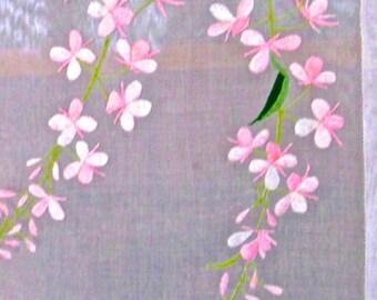 Table Runner Dresser Scarf Batiste Linen Embroidery Delphinium Blossoms