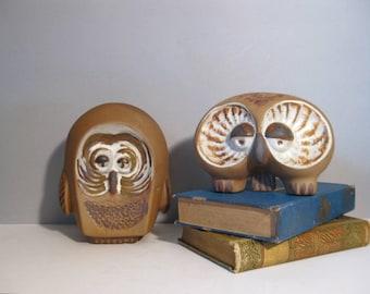 Midcentury  Pair of Owls Jaru California Art Pottery 2 Owls Ceramic  Sculpture Figurines Collectibles