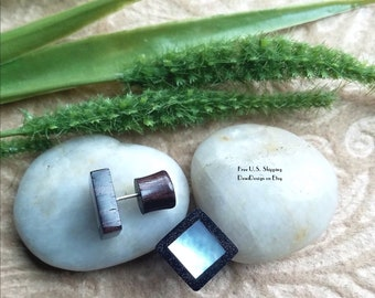 """Earrings,  Faux Plugs, """"Natural Beauty"""", Handcrafted, Mother of Pearl, Sono Wood, DewiDesign"""