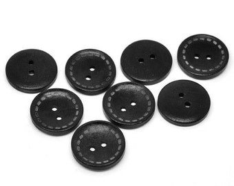 4 Black wood button with dotted Line 25m