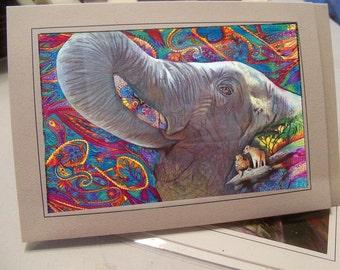 greeting card elephant habitat colorful card