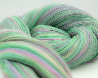 Hand Dyed Lace Weight Yarn 'Light Green / Light Lavender' Alpaca / Silk Knitting Yarn Shawl Yarn
