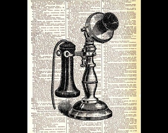 TELEPHONE vintage art print wall decor on upcycled dictionary book page black white industrial technology antique retro stick phone 8x10,5x7