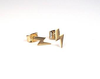 Thunderbolt Studs, Tiny Lightning Studs, Lightning Bolt Earrings, Matte Gold plated studs, Lightning Earrings, Tiny thunder bolt studs