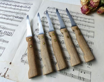 5 old french VINTAGE rustic wooden handle knives deco dish Shabby cottage chic kitchen decor