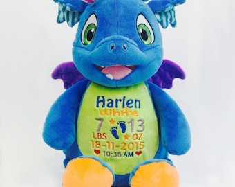 Signature Dragon Personalized Stuffed Animal, Personalized Baby Gift, Cubbie with Birth Announcement by Felicia's Fancies Baby Boutique