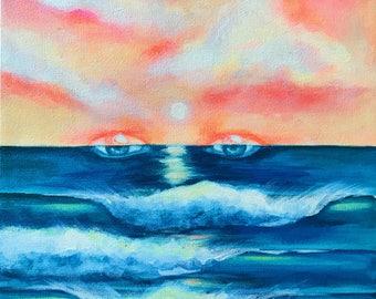 Ocean Eyes // Acrylic Painting on Canvas (Art)