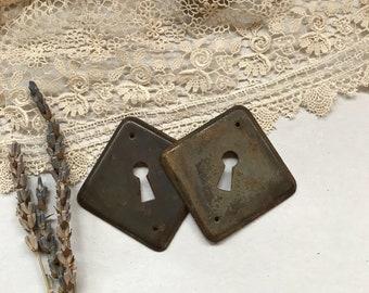 Vintage Hardware Large KEYHOLES- Antique Escutcheon Plate- Salvage Yard Architectural Salvage- Door Plate Hardware- C13