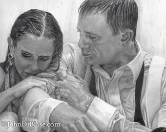 Drawing Print of Eva Green and Daniel Craig as Vepser and James Bond in Casino Royale
