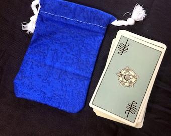 Blue Pattern Tarot Card Deck Bag - Drawstring Bag for Tarot Cards