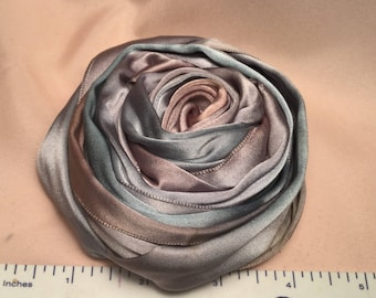 Large Soft Blue and Pink Ombré  Cabbage Rose Millinery Applique