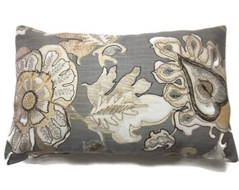 Decorative Lumbar Pillow Cover Bold Floral Design Gray Ivory Tan Pale Yellow Tiny Touch of Blue Same Fabric Front/Back Throw 12x18 inch x