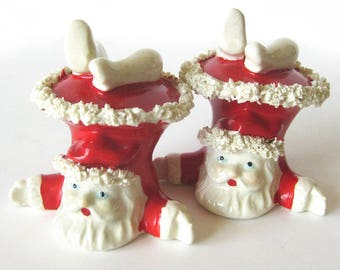 Vintage Christmas Santa Figurines / Upside Down Santa with Spaghetti Trim / Christmas Figurine / Christmas Collectible