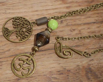 Long necklace lime green and Brown, ethnic, Bohemian, India, gemstones, Gypsy, zen, tree of life, Lampwork Glass chic