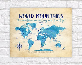 Kids world map etsy world mountains map famous mountains of the world take me to the mountains gumiabroncs Image collections
