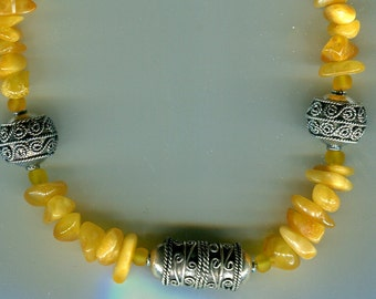 Baltic Egg Yolk Amber and Bali Sterling Necklace N318