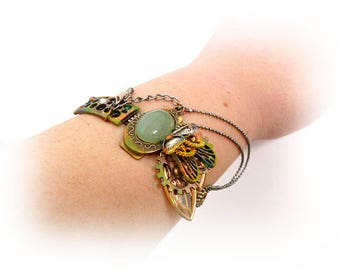 Brass Steampunk Bracelet _STB6541208457_Steampunk Accessories_Bracelet with Jade_Gift Ideas