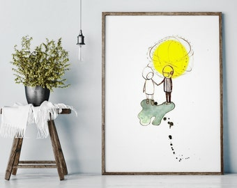 Childrens Wall Art Print -Love BIG PRINT