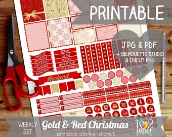 Gold and Red Christmas Printable Planner Stickers, EC Planner Stickers, Weekly Planner Stickers December, SILHOUETTE / CRICUT