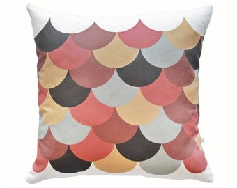 Scallop Print Throw Pillow – autumn colours girls cushion geometric decorative cushion exclusive design scallop shell motif