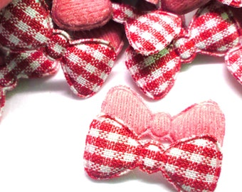 """100pcs x 7/8"""" Red Gingham Cotton Bow Padded/Appliques"""