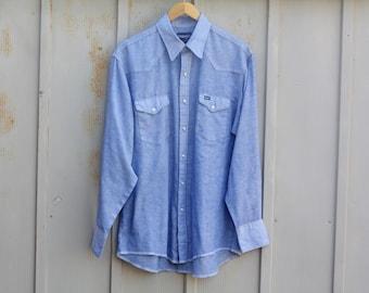 Vintage Wrangler Shirt - Distressed Western Shirt - Retro Eagle Shirt - 70s Shirt for Men - Chambray Shirt - Cowboy Shirt - Pearl Snap Shirt