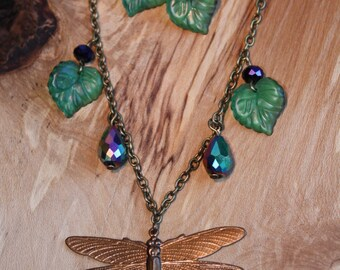 Dragonfly Necklace, Insect Jewelry, Garden Lover, Dragonfly Jewelry Set