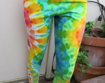 Rainbow Tie Dye leggings extra large mermaid pants party bohemian gypsy dancing queen caterpillar