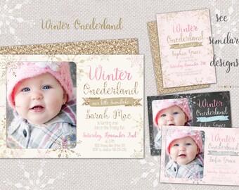 Winter Onederland Invitation CardWonderland Invitation Card