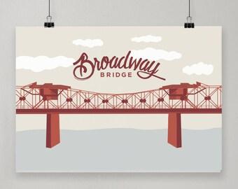Broadway Bridge / Illustrated Print / Portland, Oregon Design