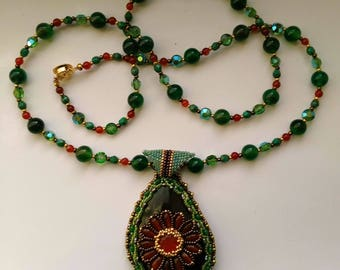 Beadwoven Floral Necklace, Green Gemstone Necklace, Caramel Honey Golden Flower Pendant, Carnelian Pendant - OOAK Necklace by enchantedbeads