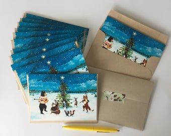 Holiday Cards / Christmas Cards / Whimsical Christmas  / Solstice Cards / Cards / Woodland Cards / Woodland cards / Whimsical Holiday Cards