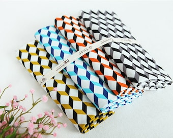 Cube Cotton Fabric - Black, Orange, Blue or Gold - Geometric Fabric - By the Yard 80479